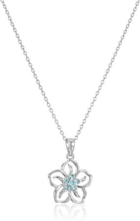 """Amazon.com: Sterling Silver Created Aquamarine Flower Pendant Necklace, 18"""": Jewelry"""