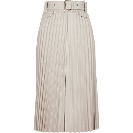 Cream pleated faux leather midi skirt | River Island