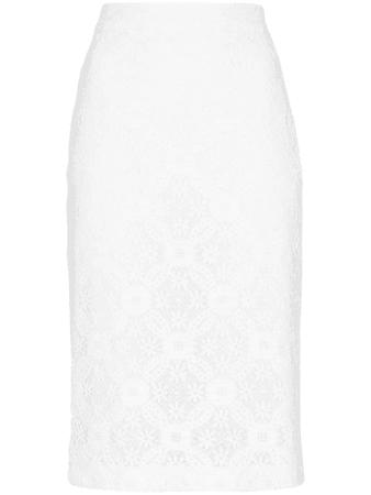 Alexander Mcqueen Endangered Flower Lace Pencil Skirt In White   ModeSens
