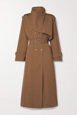 Belted Double-breasted Cotton-blend Gabardine Trench Coat - Light brown