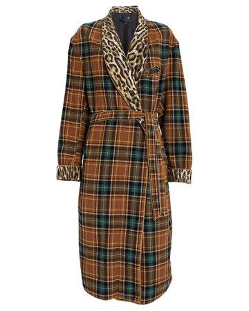 Winter Robe Wool Plaid Coat