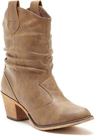 Amazon.com   Charles Albert Women's Modern Western Cowboy Distressed Boot with Pull-Up Tabs   Mid-Calf