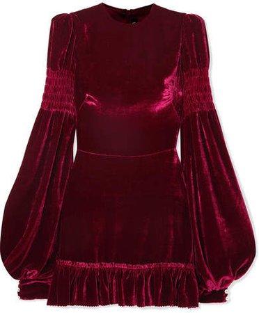Ruched Ruffled Velvet Mini Dress - Red