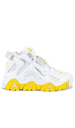 Nike Air Barrage Mid Sneaker in White, Chrome, Yellow & Black | REVOLVE