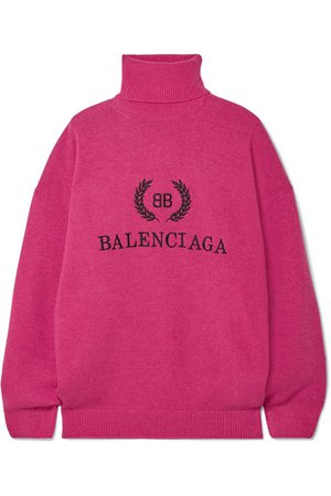 Balenciaga | Embroidered wool and cashmere-blend turtleneck sweater | NET-A-PORTER.COM
