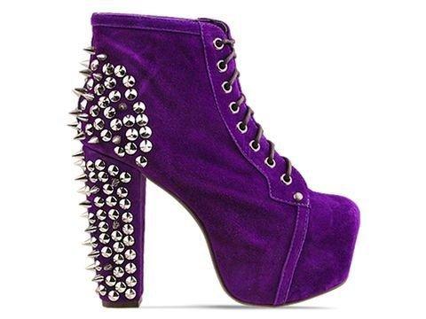 Purple Jeffrey Campbell Lita Spiked & Studed Boot Heels