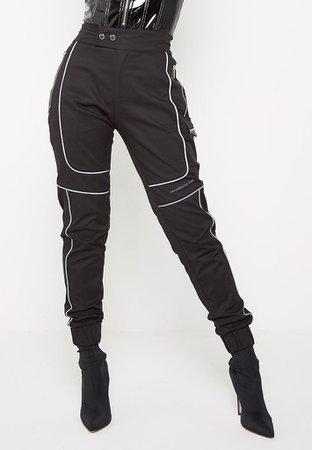 Reflective Piped Cargo Pants - Black   Manière De Voir (UK)