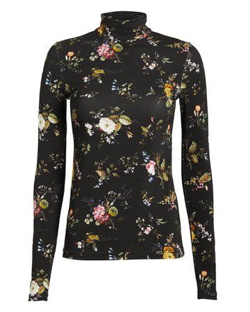Floral Jersey Turtleneck Top