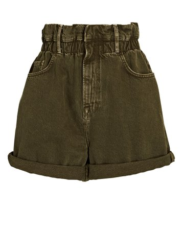 FRAME Elastic Waist Denim Paperbag Shorts | INTERMIX®