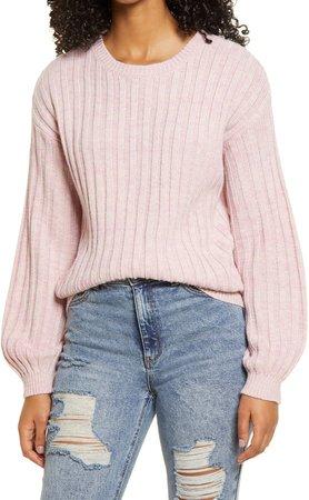 Heather Ribbed Crewneck Sweater