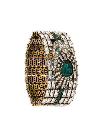 Gucci Crystals Detail Bangle 596003I4769 Silver | Farfetch