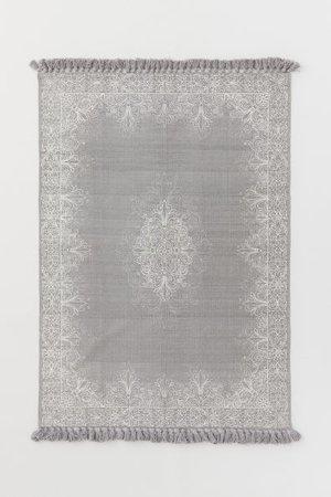 Tasseled Cotton Rug - Light gray/white patterned - Home All | H&M CA