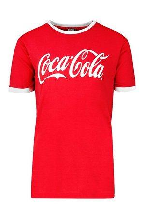 Coca Cola Licensed Ringer T-Shirt | Boohoo red