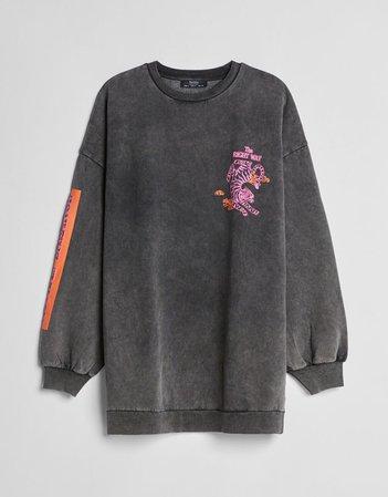 Longline printed sweatshirt - Dresses - Woman | Bershka