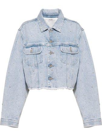 Miu Miu rhinestone-embellished Denim Jacket - Farfetch