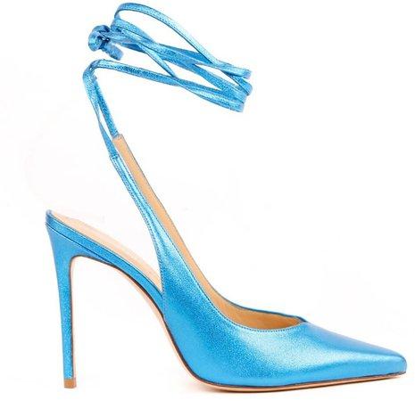 Aldo Castagna Light Blue Metallic Leather Pumps