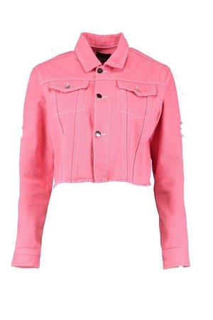 Pink Cropped Contrast Stitch Denim Jacket | Boohoo