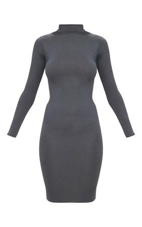 Basic Charcoal Grey Roll Neck Midi Dress | PrettyLittleThing USA