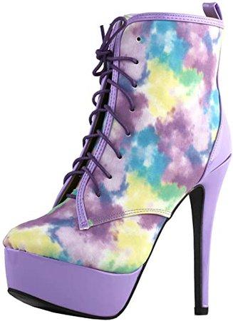 Amazon.com | Show Story Amazing Purple Oil Painting Effect Lace-Up High Heel Platform Ankle Boots, LF80882PP36, 5US, Purple | Ankle & Bootie