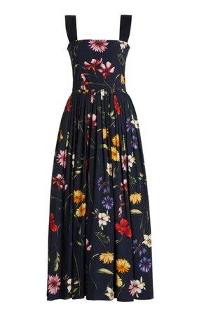 Floral Cotton Midi Dress By Oscar De La Renta | Moda Operandi