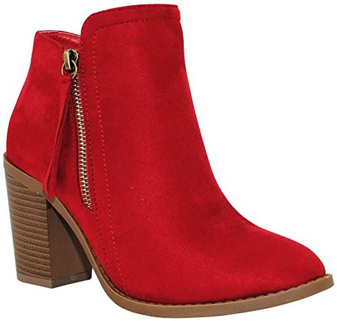 Amazon.com | TRENDSUP COLLECTION Women's Fashion Suede Booties (9 B(M) US, Black Nubuck) | Ankle & Bootie