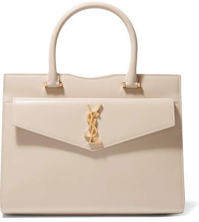Cabas Uptown Glossed-leather Tote - Beige