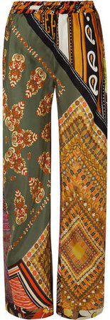 Printed Silk-satin Wide-leg Pants - Orange