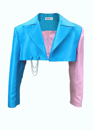 Blue & pink cropped tailored sateen blazer