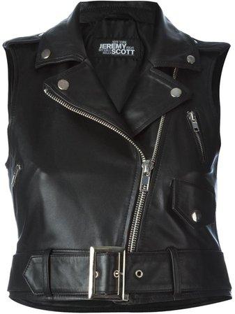black leather sleeveless jacket cropped - Google Search