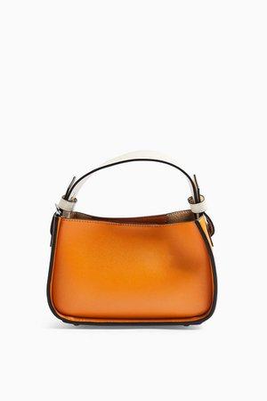 Orange Color Block Mini Grab Bag   Topshop