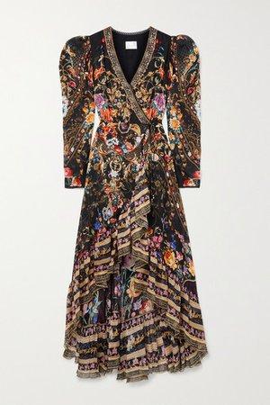Crystal-embellished Printed Silk-chiffon Wrap Dress - Black