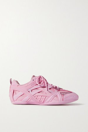 Drive Leather, Rubber And Mesh Sneakers - Pink