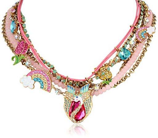 "Betsey Johnson ""Fairyland"" Swan and Rainbow Multi-Row Necklace, 20"": Clothing"
