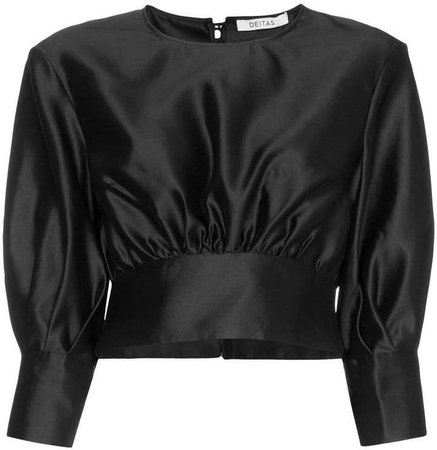 Deitas Sade puff sleeve shantung silk blouse
