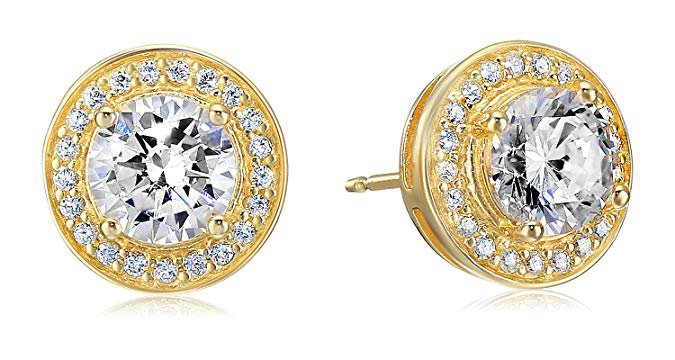 Amazon.com: Amazon Essentials Yellow Gold Plated Sterling Silver Cubic Zirconia Halo Stud Earrings: Jewelry