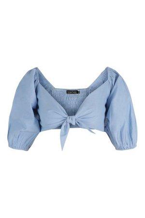 Tie Front Puff Sleeve Crop Top | boohoo