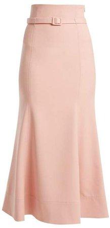 Severino Wool Crepe Midi Skirt - Womens - Pink