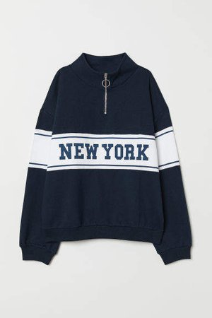 H&M+ Sweatshirt with Collar - Blue
