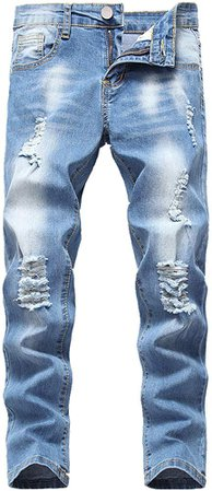 Amazon.com: Boy's Skinny Fit Elastic Waist Ripped Distressed Stretch Fashion Washed Denim Jeans Pants, Light Blue, 6: Clothing
