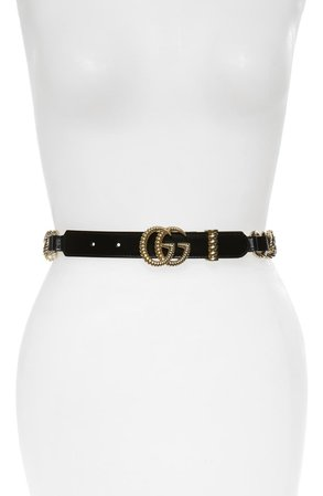Gucci Textured GG Chain & Leather Skinny Belt | Nordstrom