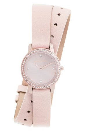 Rebecca Minkoff Major Double Wrap Leather Strap Watch, 22mm | Nordstrom