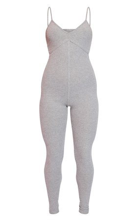 Grey Brushed Rib Strappy Jumpsuit - New In Clothing - New In   PrettyLittleThing USA