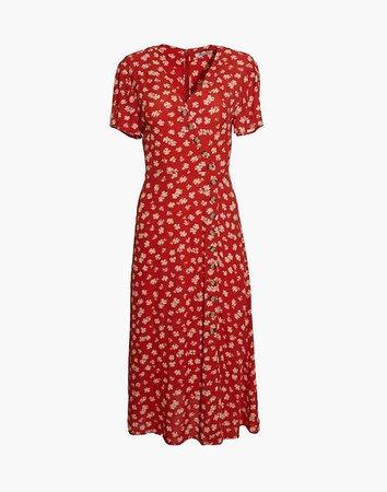 Button-Wrap Midi Dress