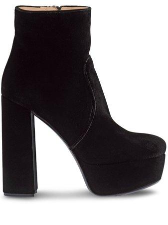 Miu Miu Velvet Block Heel Platform Boots