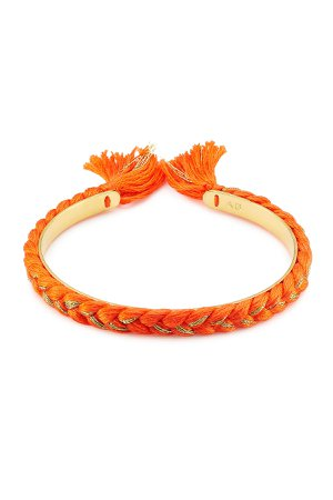 18K Gold Plated Bangle with Cotton Braid Gr. One Size