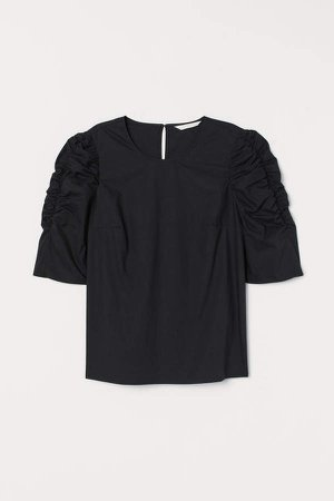 Puff-sleeved Blouse - Black