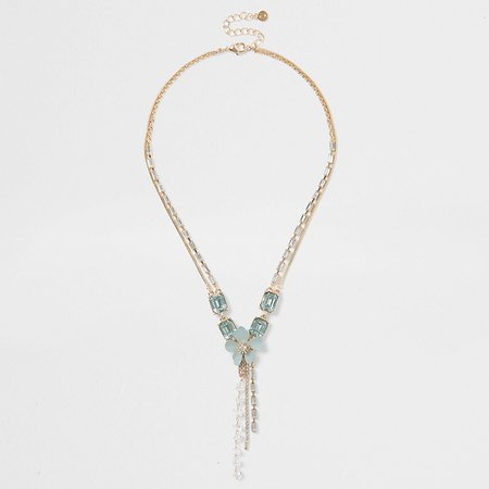 Light green floral necklace | River Island