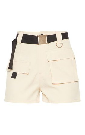 Stone Belted Waist Cargo Pocket Front Shorts | PrettyLittleThing