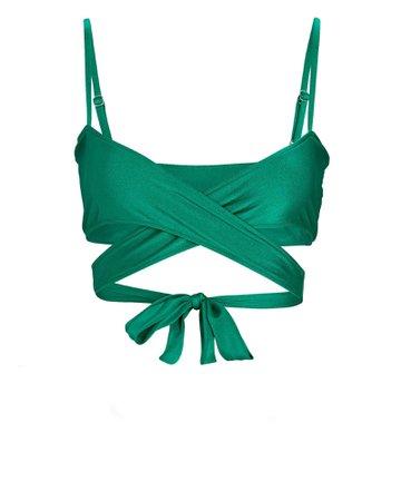 Frankies Bikinis Falcon Cross Front Bikini Top   INTERMIX®
