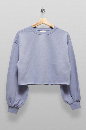 Blue Cropped Sweatshirt | Topshop